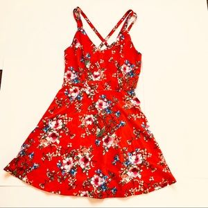 Trixxi Red Floral Strappy Red Boho Skater Dress L